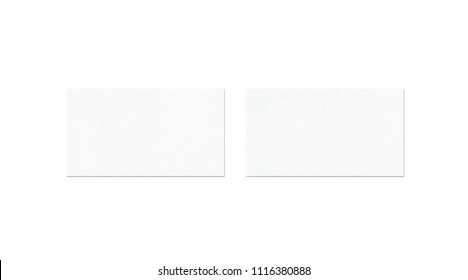 Blank white two business card mock up, top view, isolated, 3d rendering. Namecard design mockup front and back view. Calling papersheet template for company name, phone number, email address.