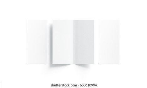 Blank white two folded booklet mock up, opened and closed, front and back side, top view, 3d rendering. Plain twofold brochures mockups set isolated. Book cover and flier inside, copy space.