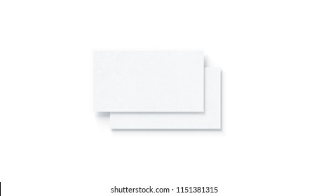 Blank white two horizontal business cards mock up, isolated, 3d rendering. Empty namecard on each other mockup, top view. Calling papersheet template for company name, phone number, email address.