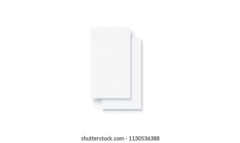 Blank white two vertical business cards mock up, isolated, 3d rendering. Empty namecard on each other mockup, top view. Calling papersheet template for company name, phone number, email address.
