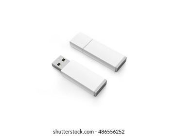 Blank white usb drive design mock up, 3d rendering, clipping path. Clear plastic flash disk template opened and closed. Plain memory device mockup. Clean pen drive branding presentation. Micro card.