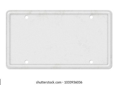 Blank white vintage license plate isolated on white background