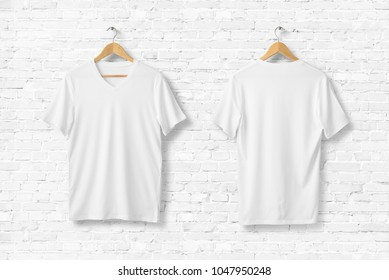 Blank White V-Neck Shirt Mock-up on wooden hanger, front and rear side view. 3D Rendering.