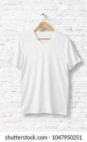 Blank White V-Neck Shirt Mock-up on wooden hanger, front side view. 3D Rendering.