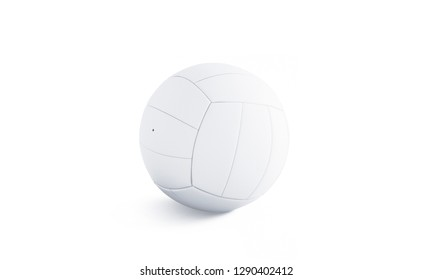 Blank white volleyball ball mock up, isolated, 3d rendering. Empty leather sports bal mockup, side view. Clear playing sphere for training or competition template.