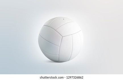 Blank white volleyball ball mock up, isolated, front view, 3d rendering. Empty volley-ball round mockup. Clear professional bal for leisure on beach or school exercise template.
