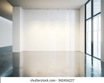 Blank white wall in gallery with concrete floor. 3d render