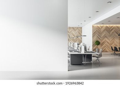 Blank white wall in spacious eco style interior coworking office with wooden wall and concrete floor. Mockup. 3D rendering