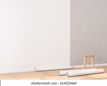 Blank white Wallpaper roll Mockup hanging on the wall, empty interior, 3d rendering