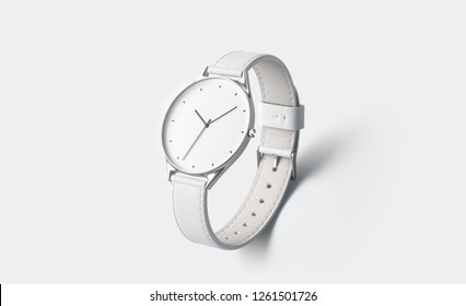 Blank white watch with wristlet mockup, isolated, depth of field, 3d rendering. Empty accessory clock mock up. Clear dial with arrow template. Style jewelry with leather strap.