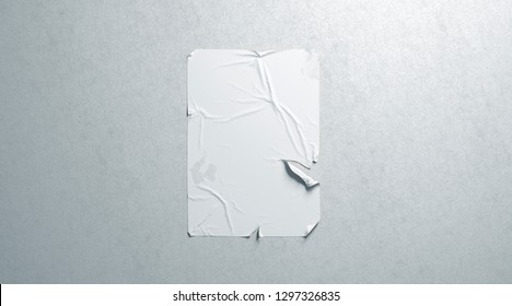 Blank white wheatpaste adhesive torn poster mockup on textured wall, 3d rendering. Empty grunge placard mock up. Clear disrupted banner hanging on wal template.