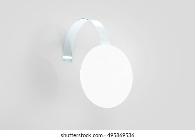 Blank white wobbler hanging on wall mockup, clipping path, 3d rendering. Space round paper mock up on plastic transparent strip. Clear price sticker circle shape. Pricing tag label template isolated.