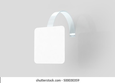 Blank white wobbler hanging on wall mockup, clipping path, 3d rendering. Space rectangular paper mock up on plastic transparent strip. Clear price sticker. Pricing tag label template isolated.