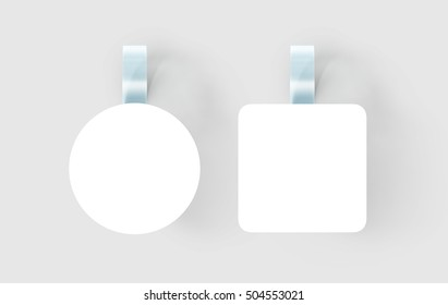Blank white wobbler hanging on wall mock up, clipping path, 3d rendering. Empty rectangular and round paper mockup on plastic transparent strip. Clear price wobler. Pricing tag label template isolated