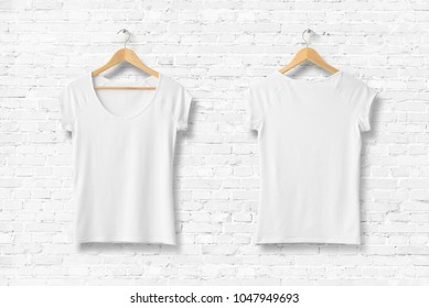 Blank White Women's T-Shirt Mock-up on wooden hanger, front and rear side view. 3D Rendering.