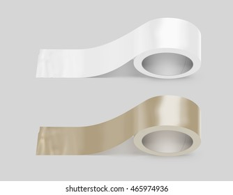Blank white and yellow duct adhesive tape mockup, clipping path, 3d illustration. Sticky scotch roll design mock up. Clear glue tape template. Packing insulating tape display.