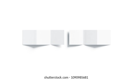 Blank white z-folded booklet mock up, top view, isolated, 3d rendering. Plain three fold brochure page mockup set. Square book cover template, copy space.