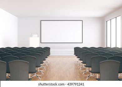 Blank whiteboard in conference hall interior with rows of seats, wooden floor and concrete walls. Mock up, 3D Rendering