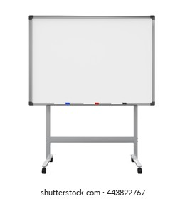 Blank Whiteboard Isolated. 3D rendering