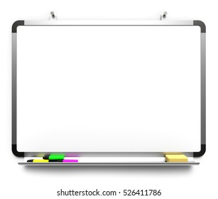 Blank whiteboard mounted on wall three marker pens isolated on white background 3D rendering