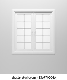 blank window on white wall. 3d illustration