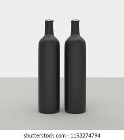 Blank wine bottles mockup set in 3d rendering on light grey background