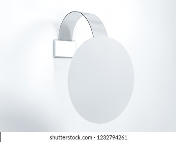 Blank wobbler hanging on wall mockup. 3D rendering