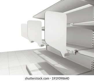Blank Wobblers In A Row, Rectangle Shape Shelf Stoppers Template, Close-up View, 3D render