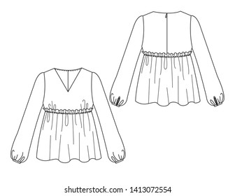 Blank women's long sleeve V-neck ruffle blouse in front and back view.  illustration.