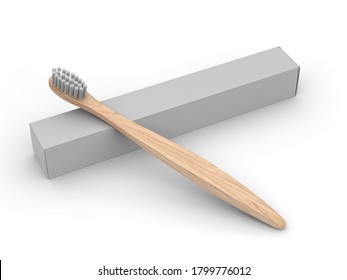Blank Wooden Bamboo Toothbrush With Box For Mockup Design And Branding. 3d rendering illustration.