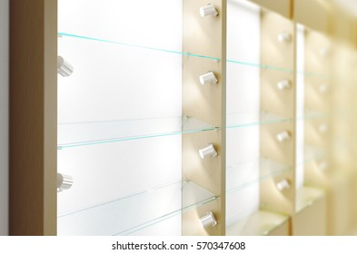 Blank wooden showcase design mockup, side view, 3d rendering. Clear white wood show case with empty glas shelves mock up. Store wall with modern furniture. Shelf front view with bright rack template
