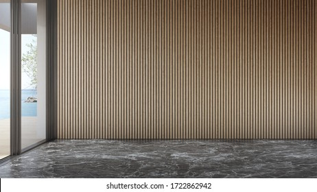 Blank wooden wall on empty black marble floor of large living room in modern house or luxury pool villa. Minimal home interior 3d rendering with beach and sea view.