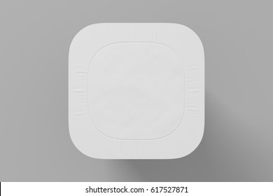 Blank yogurt  packaging. Mockup dessert plastic container isolated on white background with clipping path. 3D Illustration