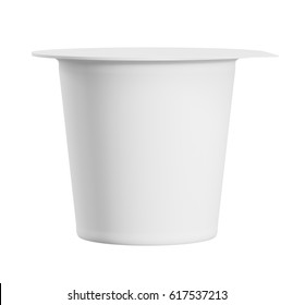 Blank yogurt packaging. Mockup dessert plastic container isolated on white background with clipping path. 3d render