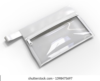 Blank Zipper  Pouch for branding and mock up. 3d render illustration.