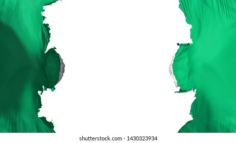 Blasted Abuja, capital of Nigeria flag, against white background, 3d rendering