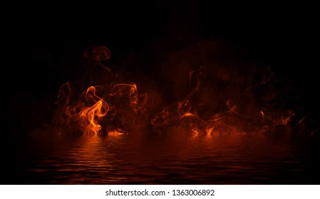 Blaze fire flame texture overlays on isolated background with water reflection.