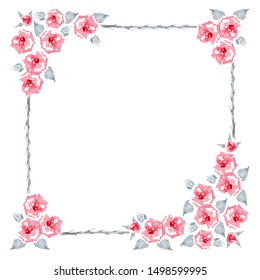 Blaze Improved Climbing Rose. Set of pure red English garden roses  flowers, leaves and buds on a white background. Frame for greeting card. Watercolor illustration.