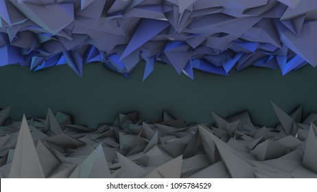 Ble and black modern abstract futuristic low-poly geometric pattern background 3d render graphic for text titles, virtual set or as wall paper.