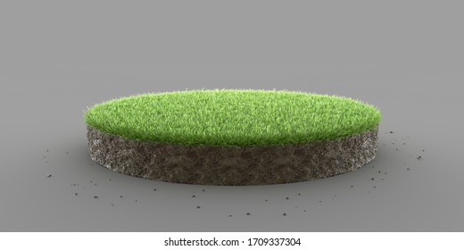 Bleed soil isolated round cross section with grass. 3D illustration