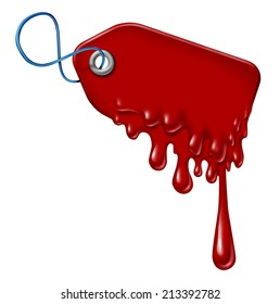 Bleeding debt and liquidation sale financial concept or halloween sales symbol as a retail price tag with blood dripping down on a white background as an icon for hot specials with melting plastic.