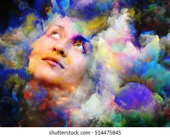 Blend of female portrait and vivid colors on subject of imagination, creativity and emotional mind