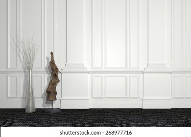 Blend of modern and classic architecture with a contemporary sculpture and floral arrangement standing in front of a paneled white wall with wainscoting and copyspace. 3d Rendering.