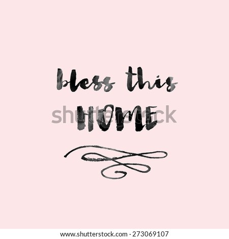 Bless This Home Modern Calligraphy Wall Stock Illustration 273069107 ...