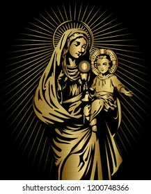 blessed Virgin Mary and baby Jesus golden metallic illustration