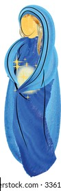 Blessed Virgin Mary pregnant, abstract artistic watercolor symbolic illustration