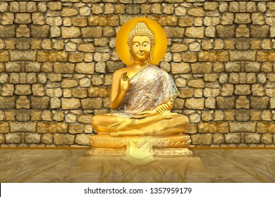 Blessing Golden Lord Buddha on 3D decorative stone wall background 3D wallpaper-Illustration. Modern artwork Graphical poster