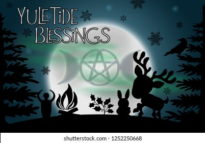 """Yuletide Blessings"" illustration.  Beautiful glowing moon with the image of the goddess symbol surrounded by silhouetted pine trees, a raven, yule log, reindeer, rabbit, holly, and snowflakes."