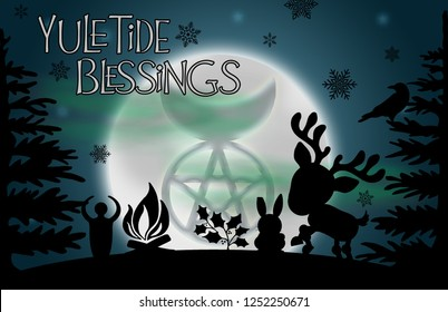 """Yuletide Blessings"" illustration.  Beautiful glowing moon with the image of the god symbol surrounded by silhouetted pine trees, a raven, yule log, reindeer, rabbit, holly, and snowflakes."