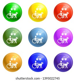Blind man wheelchair dog icons 9 color set isolated on white background for any web design